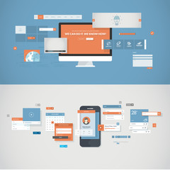 Flat design concepts for mobile app and website development