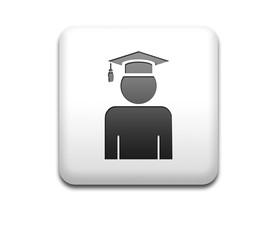 Boton cuadrado blanco 3D simbolo graduado