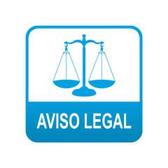 Etiqueta tipo app azul AVISO LEGAL