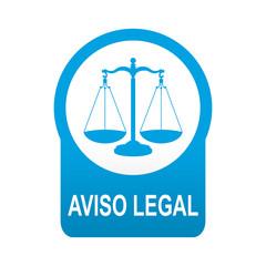 Etiqueta tipo app azul redonda AVISO LEGAL