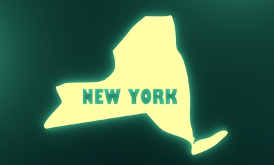 new york state outline neon glowing map