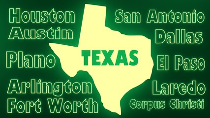 texas outline neon glowing map