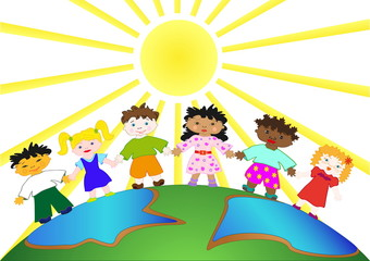 Illustration of Kids walking on the planet
