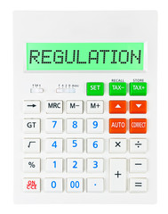 Calculator with REGULATION on display isolated on white