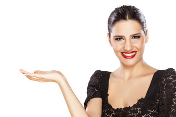 smiling girl holding imaginary object on white background