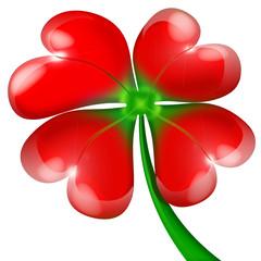 vierblättriges Kleeblatt mit roten Herzen. Valentinstag
