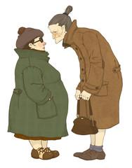 Две пожилые женщины, занятые беседой
