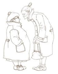Контурный рисунок с изображением двух пожилых женщин