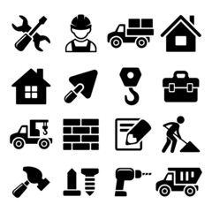 Construction Icons Set on White Background. Vector