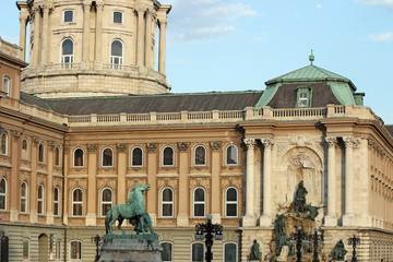 Buda royal castle with fountain and horse statue