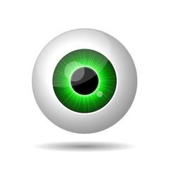 Green Eye on White Background.