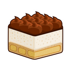 Dessert Tiramisu with Amaretto Isolated on White.