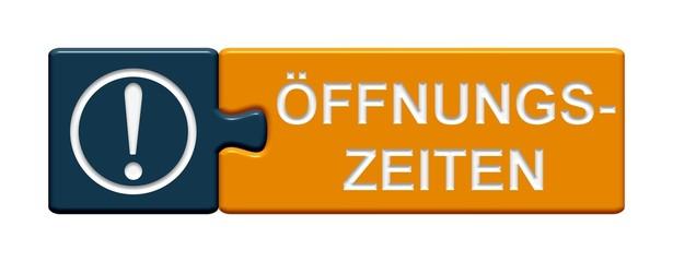 Puzzle-Button blau orange: Öffnungszeiten