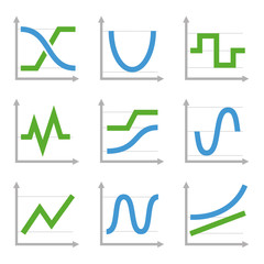 Digital and Analog Colorful Charts Diagrams. Blue Green  Set