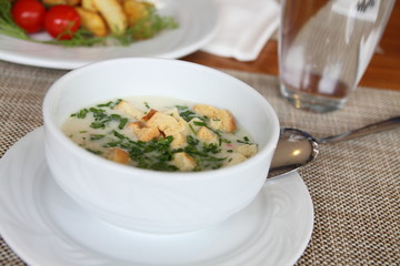 Vegetable soup Cauliflower with breadcrumbs and parsley