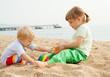 Beautiful girls play on  beach