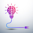 Creative brain Idea concept with light bulb and plug icon ,vecto - 68669130