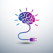 Creative brain Idea concept with light bulb icon ,vector illustr - 68669137