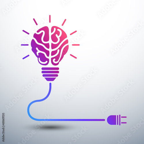 Creative brain Idea concept with light bulb and plug icon ,vecto - 68669130