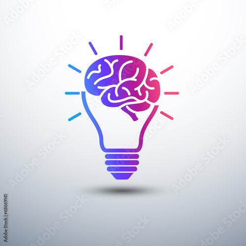 Creative brain Idea concept with light bulb and plug icon ,vecto - 68669141