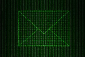 digital envelope made of green binary code