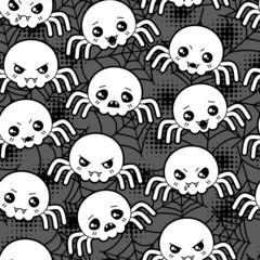 Seamless halloween kawaii cartoon pattern with cute spiders.