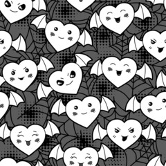 Seamless halloween kawaii cartoon pattern with cute hearts.