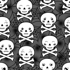 Seamless halloween kawaii cartoon pattern with cute skulls.