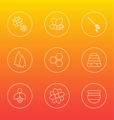White honey bee icons vector