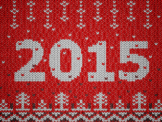 Card of New Year 2015 with knitted texture. Vector illustration