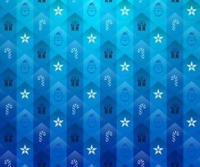 Christmas blue background. New Year pattern with star and gift