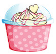 A sweet cupcake inside the pink container