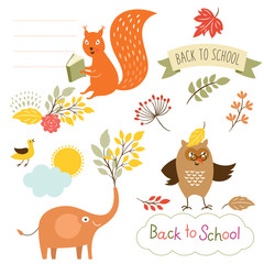 set of back to school elements, vector illustrations