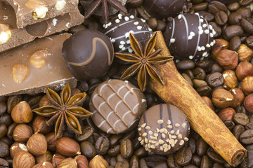 chocolate, coffee, spices and nuts