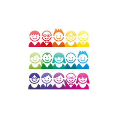 Colorful spectrum collection of abstract avatar faces portraits.