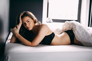 Attractive woman waking up