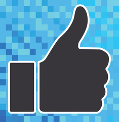 Thumb up icon on digital background