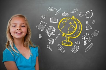 Composite image of cute pupil with chalkboard