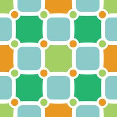 Green and orange tiles retro seamless pattern