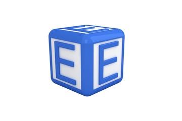 E blue and white block