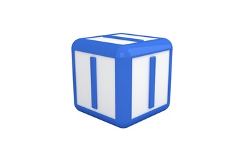 I blue and white block