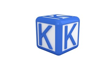 K blue and white block