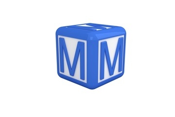 M blue and white block