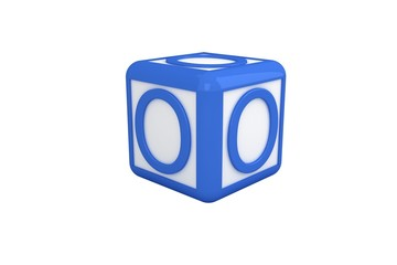 O blue and white block