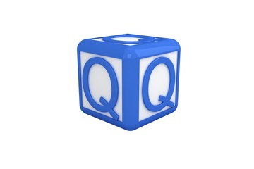Q blue and white block