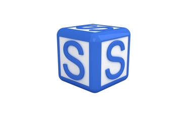 S blue and white block