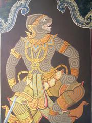 A scene from the Ramakien in Wat Phra Kaew, Bangkok, Thailand