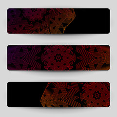 Black banners with geometric decoration.