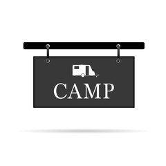 camp sign with trailer vector illustration