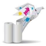 Origami bird with ink unwinding paper